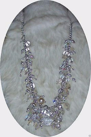 4947  WEDDING & BRIDAL NECKLACE WHITE GLASS CRYSTALS PEARLS   ITEM 4947