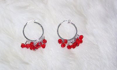 4917  EARRINGS 1 PAIR STERLING SILVER HOOPS SWAROVSKI RED CRYSTALS ITEM 4917