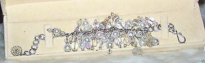 4949 WEDDING WHITE BRIDAL  GLASS CRYSTALS PEARLS  BRACELET ITEM # 4949