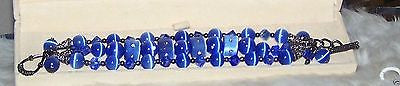 4956 SWAROVSKI  CRYSTALS & BLUE CATS EYE PEARLS THREE STRAND BRACELET ITEM 4956
