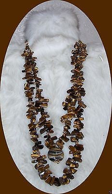 4926 HANDMADE TIGER'S EYE LARGE JUMBO CHIP HAWAIIAN  NECKLACE  ITEM # 4926