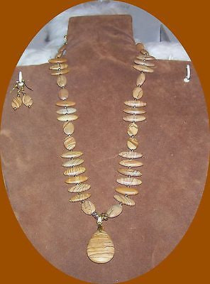4812  TIGER JASPER GEMSTONE DROP STONE JEWELRY SET 2 PC. ITEM 4812
