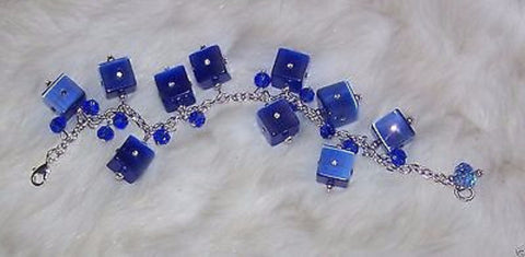 4920  BLUE  SINGLE  STRAND GLASS & CRYSTAL  HANDMADE BRACELET  ITEM # 4920