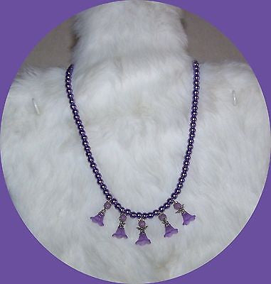 4702 LILAC PURPLE GLASS BEAD ANGEL NECKLACE CHILD OR GIRLS   ITEM # 4702