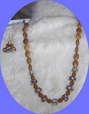 4748 BLUE & TAN LAMPWORK & CAMEL BEIGE JASPER GEMSTONE  JEWELRY SET  ITEM #4748