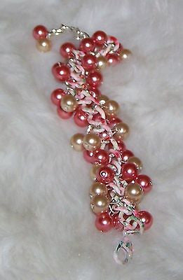4599 PEACH & BEIGE GLASS PEARL BEADS - FLORAL STEEL CHAIN  BRACELET  ITEM # 4599
