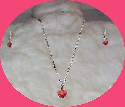 4793 STERLING SILVER PLATE CHAIN  HEART CRYSTAL PINK-PEACH NECKLACE SET GIRLS ITEM 4793
