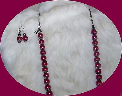 4864 BLACKBERRY MOUNTAIN JADE & LAMPWORK  NECKLACE & EARRINGS ITEM # 4864