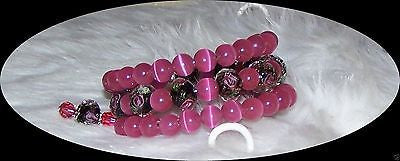 4786  CUFF BRACELET CATS EYE - LAMPWORK FLORAL  PINK FLORAL ITEM #BB-4786