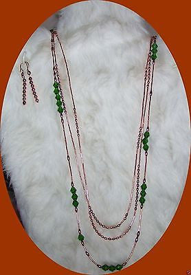 4847 COPPER WATERFALL HANDMADE NECKLACE AND EARRINGS JEWELRY SET  ITEM # 4847