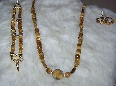 4930 HANDMADE HONEY TIGERSEYE 3 PIECE NECKLACE -BRACELET -EARRINGS ITEM # 4930