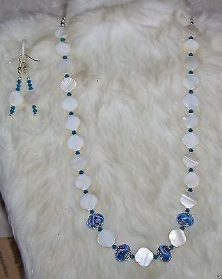 4972 IVORY WHITE MOTHER OF PEARL HANDMADE NECKLACE & EARRING  SET  ITEM # 4972