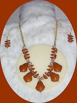 4843 HANDMADE GOLD SWAROVSKI CRYSTAL PENDANT NECKLACE & EARRING SET  ITEM # 4843