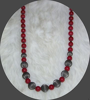 4844 RED MOUNTAIN  JADE & GUNMETAL NECKLACE & EARRING JEWELRY  SET  ITEM # 4844