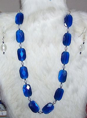 5001-01 BLUE CATS EYE FACETED  NECKLACE & EARRING SET - ITEM 5001- ROYAL BLUE