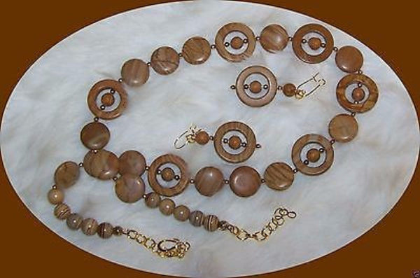 4827 BROWN TIGER STRIPE JASPER NECKLACE & EARRING JEWELRY SET ITEM # 4827