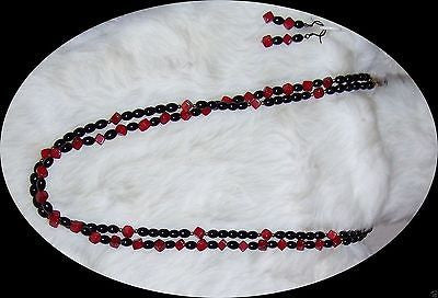 4857 RED  CORAL & BLACK GLASS NECKLACE & EARRING JEWELRY  SET  ITEM # 4857