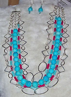 4611 SILVER RINGS FUCHSIA & TURQUOISE RIVERSTONE GEMSTONE HANDMADE NECKLACE 4611