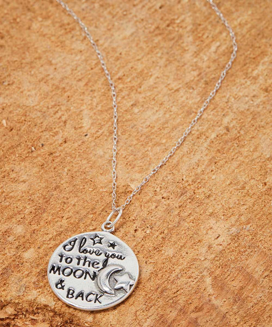 Italian Sterling Silver I Love You To The Moon And Back Necklace