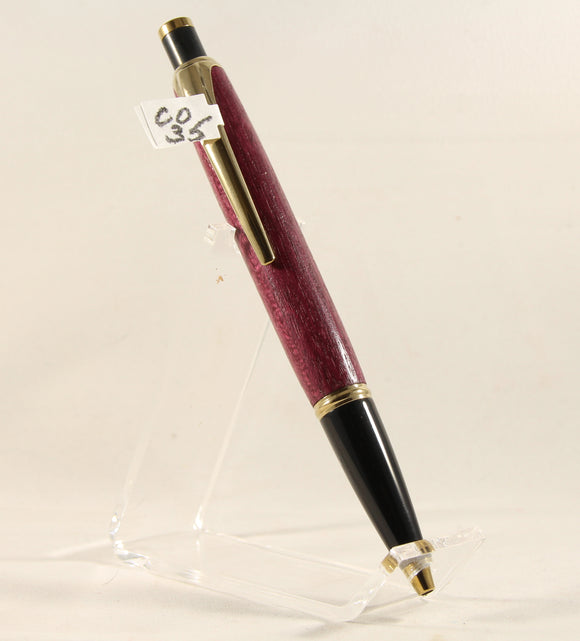 CO35 - Compson Purpleheart Pen With Gold Trim