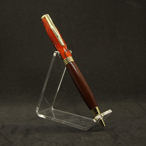A34 - Comfort Orange and Brown Acrylic Pen With Gold Trim - Now $22