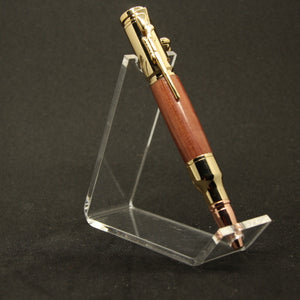 "M-EE Mini 4"" Bolt Action Cedar Pen With Gold Trim"