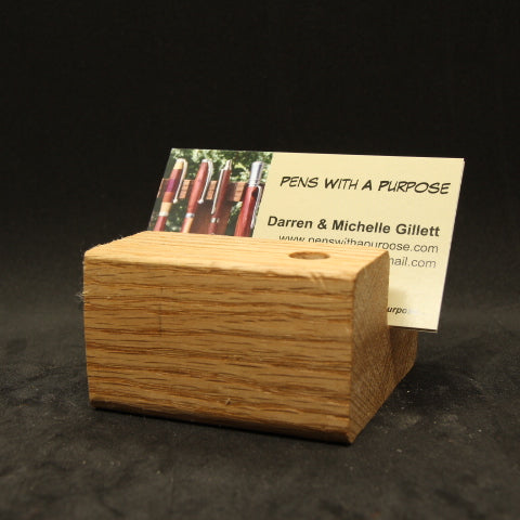 Oak Single Pen Stand and Business Card Display