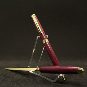 PL-AG Pen and Letter Opener Purpleheart With Gold Trim - Case or Stand Included