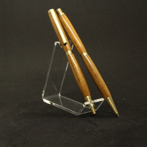 PP-F Slimline Teak Pen and Pencil Set With Antique Brass Trim  - Case or Stand Included