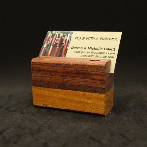 Bubinga, Walnut and Osage Orange - Single Pen Stand and Business Card Display