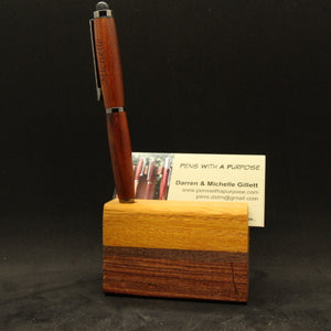 Osage Orange, Walnut and Bubinga - Single Pen and Business Card Stand