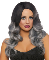 Long Curly Black & Gray Wig
