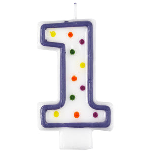 1 Polka Dots Birthday Candle