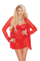 Red Three Piece Babydoll Set