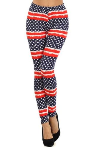 US Flag Printed Leggings