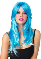 Two Tone UV Glow Long Wavy Wig