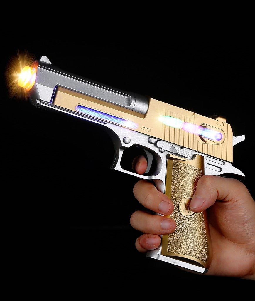 "LED 8"" Gold Laser Pistol"