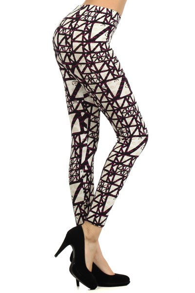 Purple Scaffold Printed Leggin