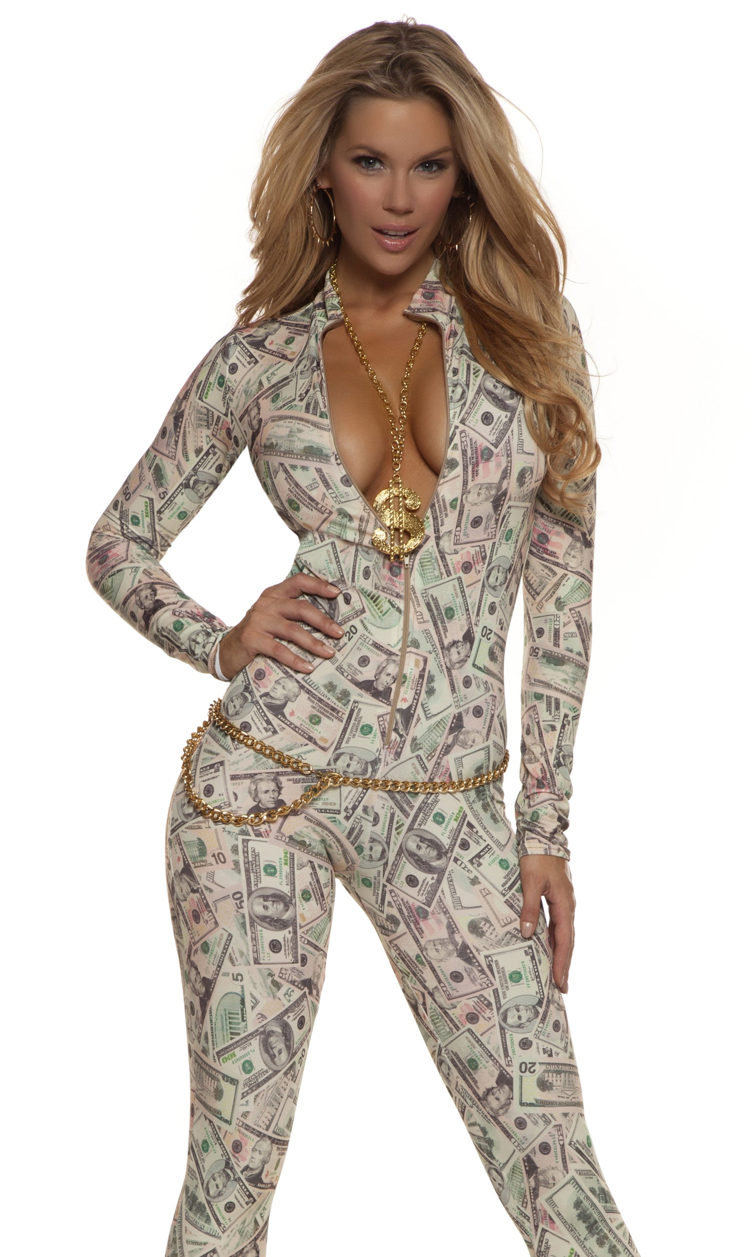 54e32ebe6324 Money Print Catsuit Adult | Costumania