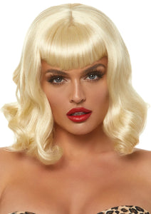 Retro Bang Curly Wig Blonde
