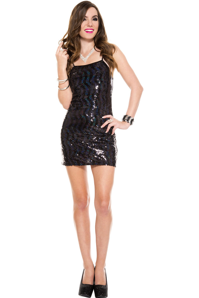 Black Sequined Dress One Size