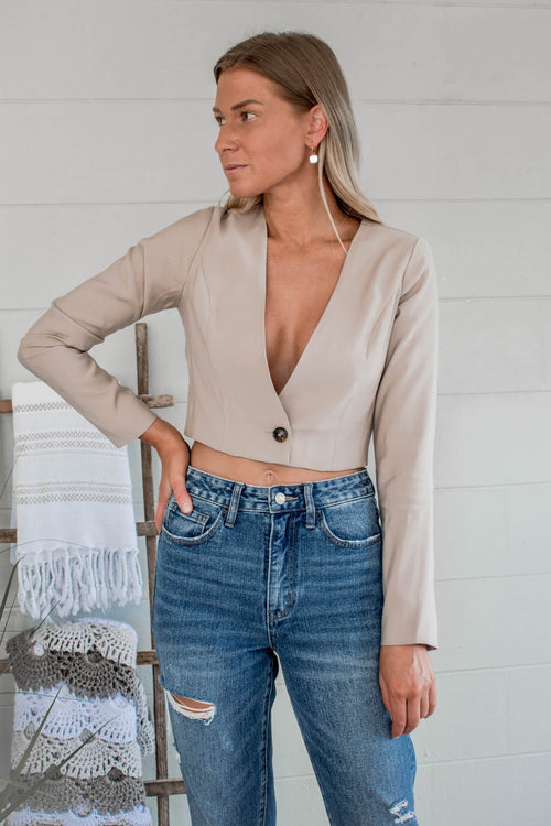 Blake Cropped Long Sleeve Button Top
