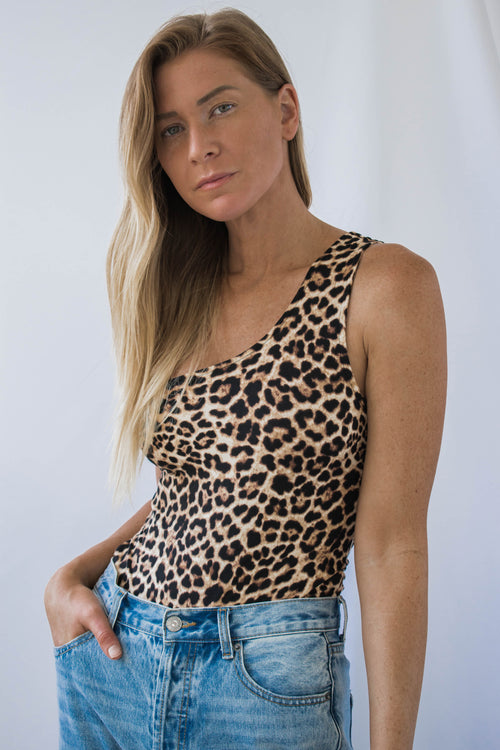 Adrian One Shoulder Leopard Bodysuit