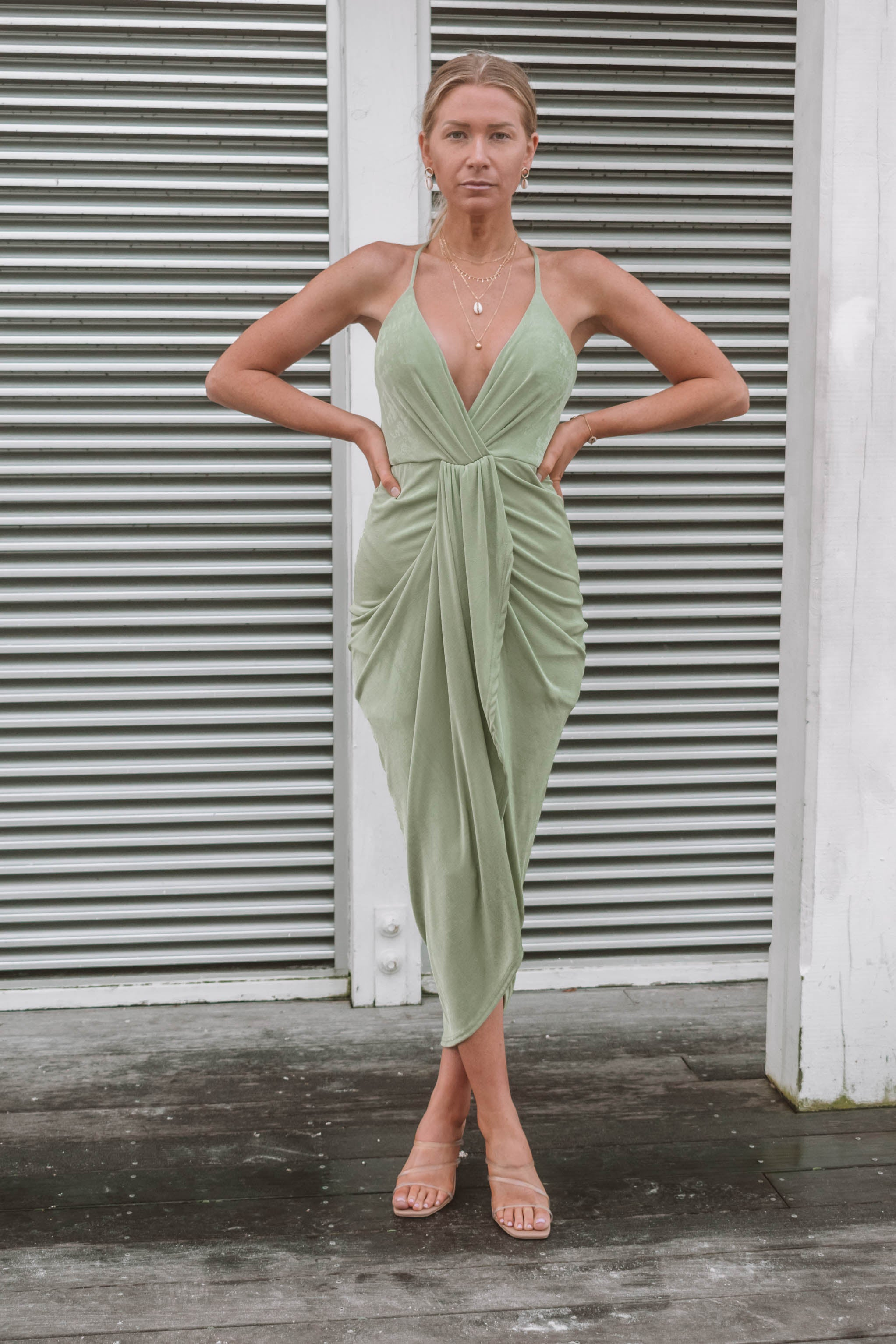 Barra Draped Midi Dress