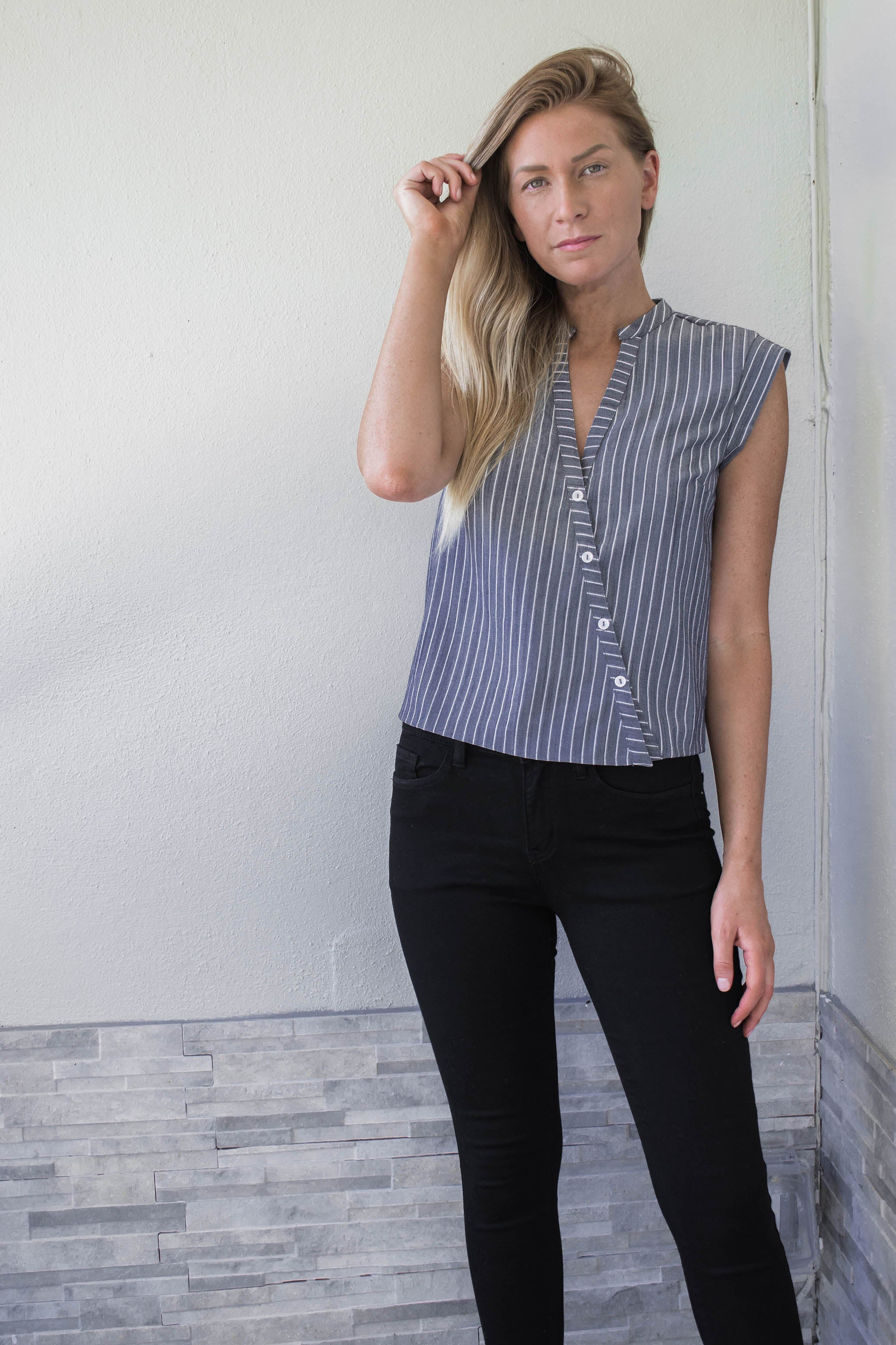Pierce Asymmetrical Button Down Top