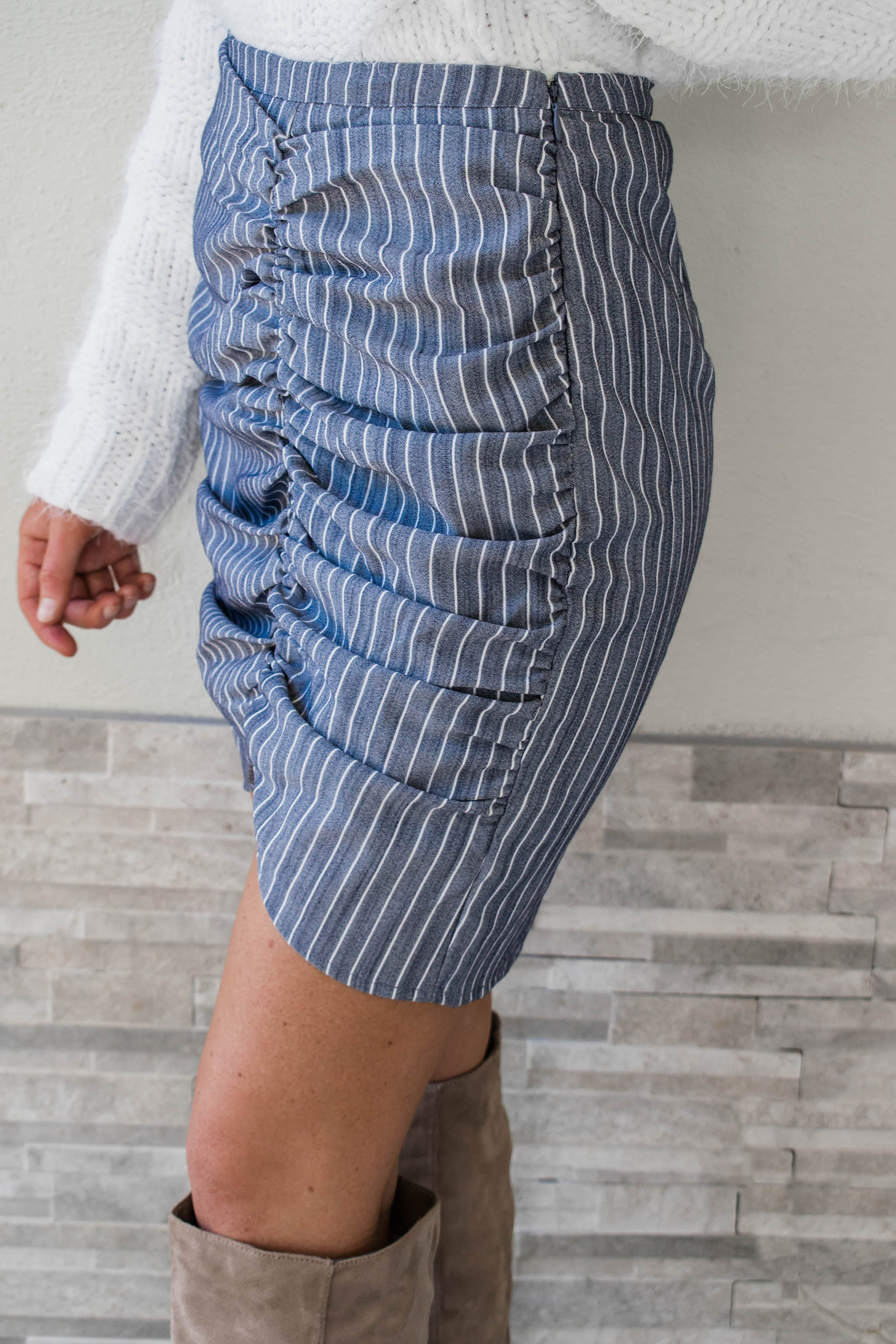 Pierce Asymmetrical Ruched Skirt