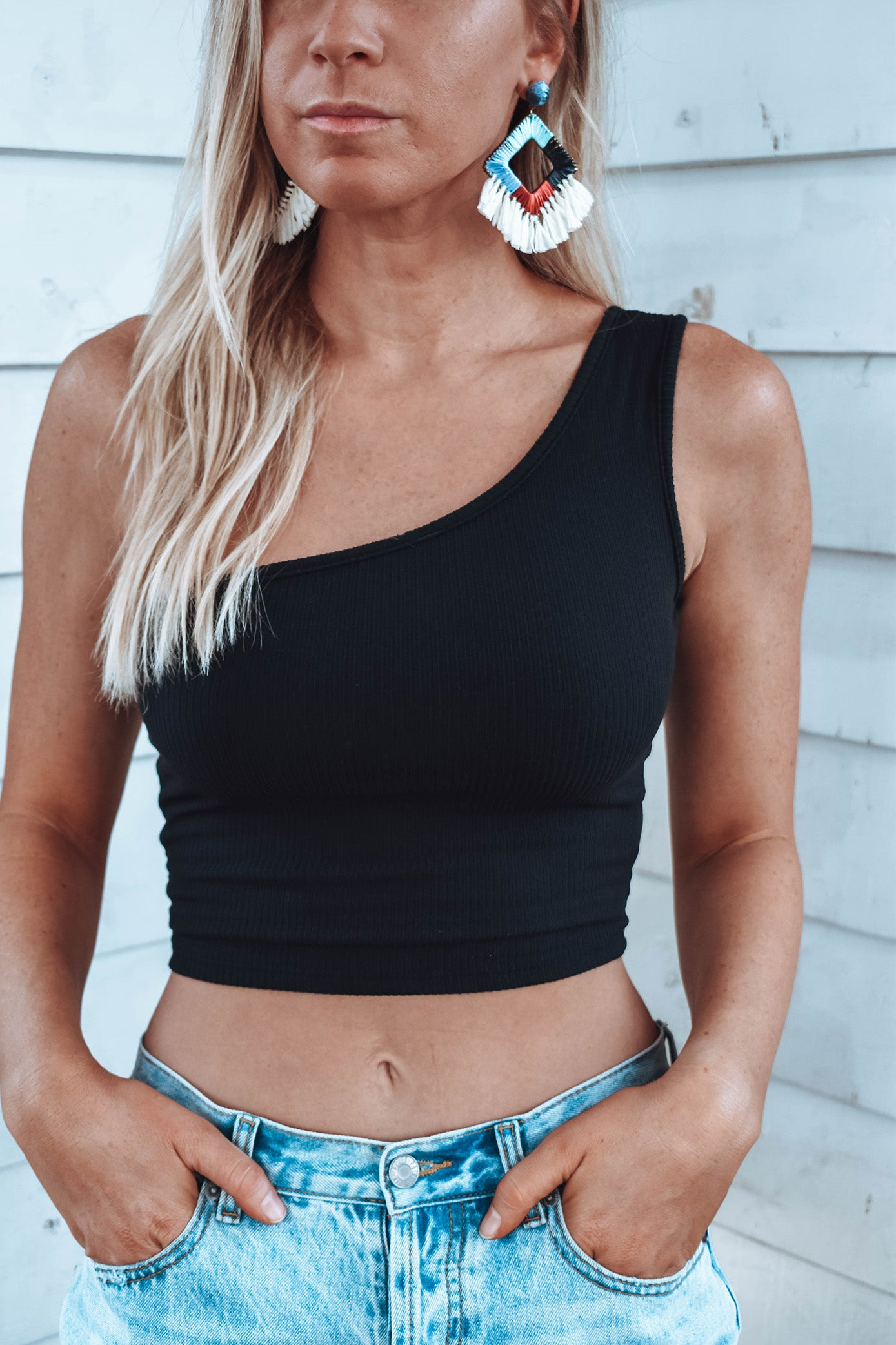 Davis One Shoulder Top - BLACK