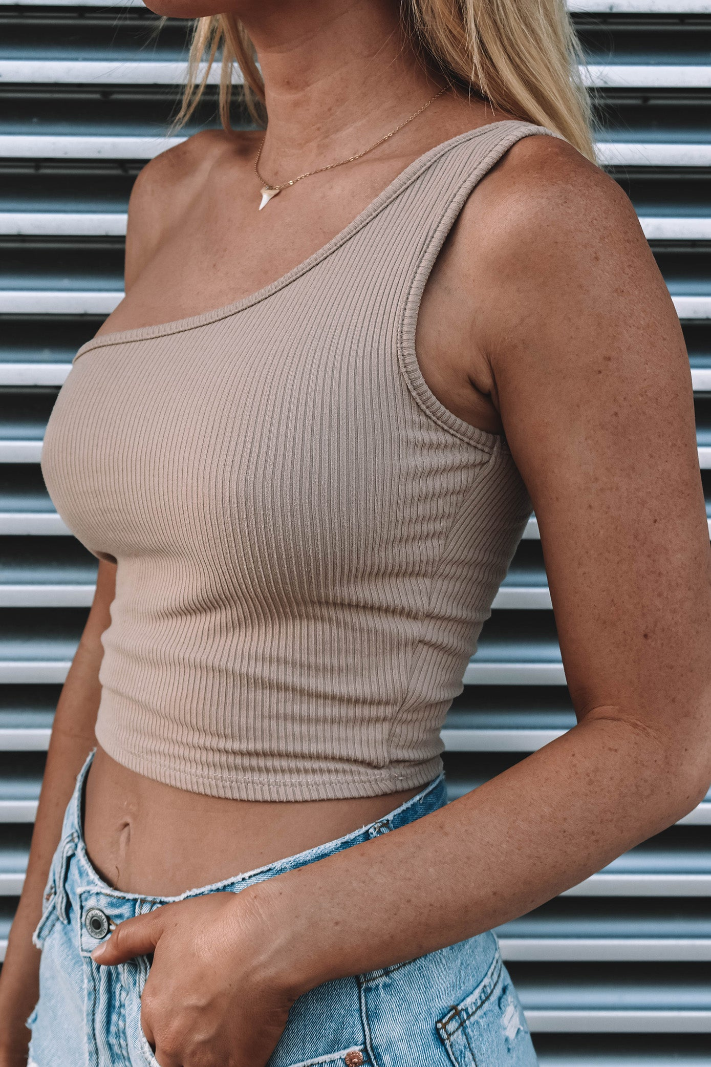 Davis One Shoulder Top - TAN