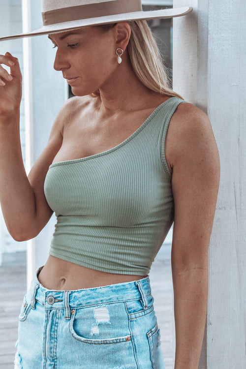 Davis One Shoulder Top - SAGE