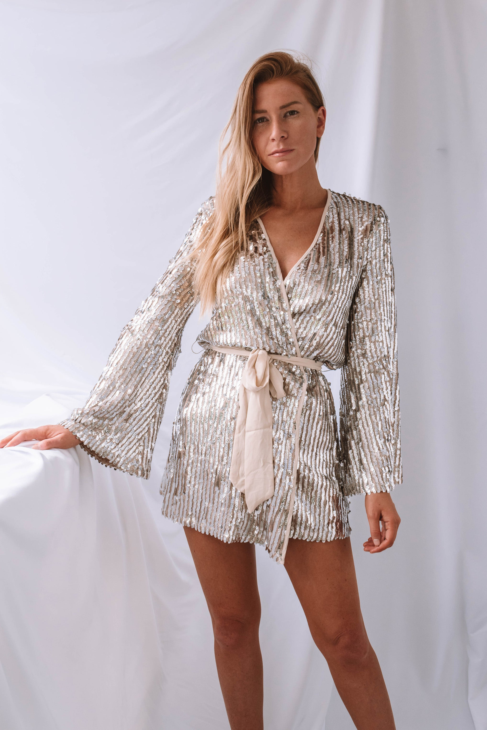 Rhylee Sequin Mini Wrap Dress
